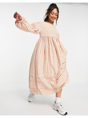 Ghospell midaxi dress with backless detail in red and white plaid-multi
