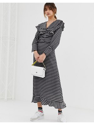 Ghospell midaxi dress with ruffle bib in gingham-black