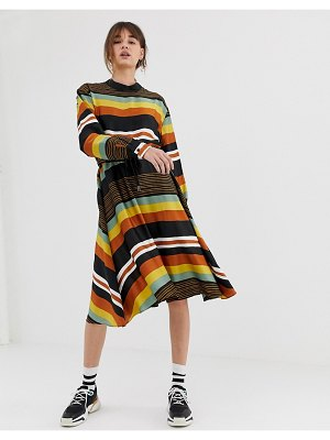 Ghospell midi dress with tie waist in bold stripe-multi