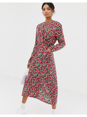 Ghospell midi dress with tie waist in vintage floral-pink
