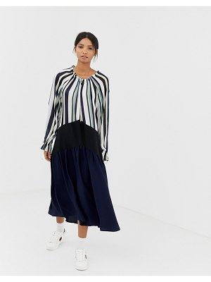 Ghospell oversized midi dress with pleated skirt in color block stripe-navy