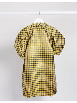 Ghospell mini dress with puff sleeves in check-yellow