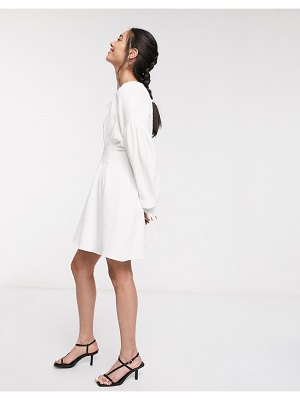 Ghospell mini dress with statement sleeves and pleated detail-white