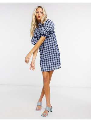 Ghospell mini dress with volume sleeves in check-blue