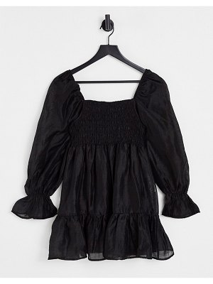 Ghospell mini smock dress with puff sleeves in black