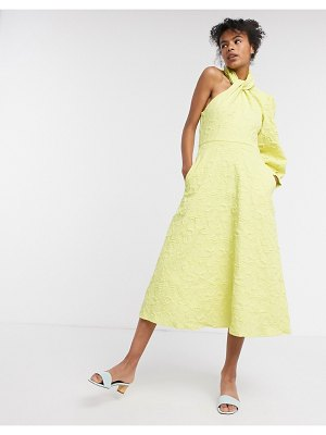 Ghospell one shoulder halterneck dress in electro jacquard-yellow