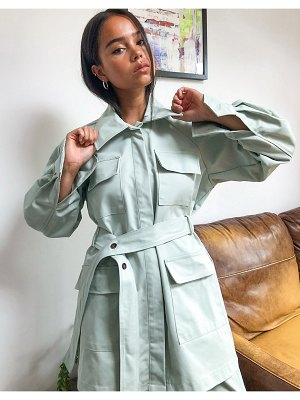 Ghospell oversized belted shacket two-piece-green