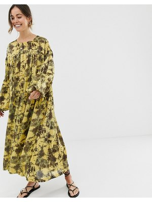 Ghospell oversized midi smock dress in tie dye-yellow