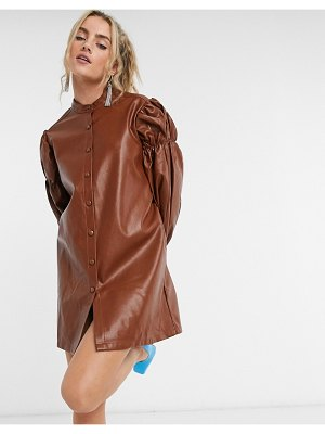 Ghospell oversized mini shirt dress with volume sleeves in faux leather-brown