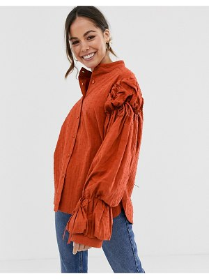 Ghospell oversized puff sleeve blouse-orange