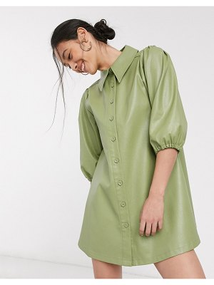 Ghospell oversized shirt dress in faux leather-green