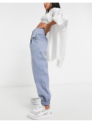Ghospell oversized suit pants with cuffed ankles and pleats in blue-blues