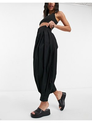 Ghospell pleated pants with cuffs in black