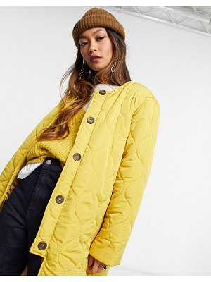 Ghospell quilted oversized coat in mustard-yellow