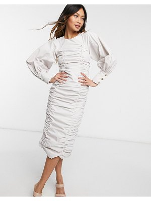 Ghospell ruched puff sleeve midi dress in beige-neutral