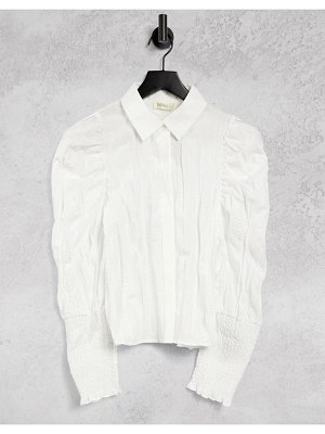 Ghospell textured shirt with puff sleeves in off white