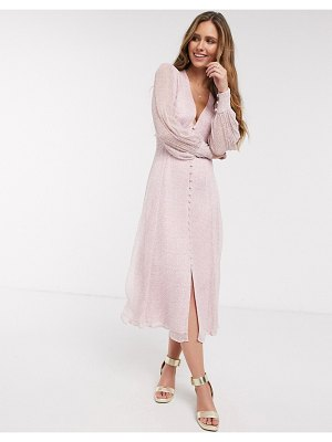 Ghost adorlee georgette floral button down midi dress in pink