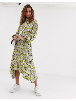 Ghost anais midi dress with balloon sleeve in crepe-yellow
