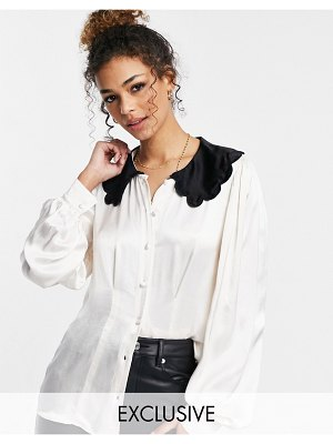 Ghost boo blouse with collar detail in cream-white