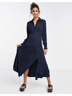 Ghost claudette dress with long sleeves and side slit in navy