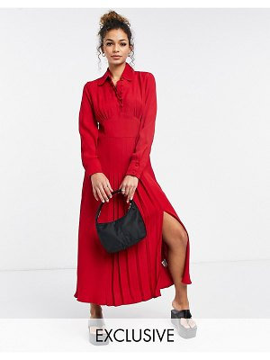 Ghost claudette dress with long sleeves and side slit in red