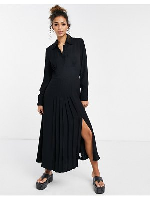 Ghost claudette dress with long sleeves and side split in black