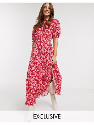 Ghost exclusive luella floral print midi dress in pink floral-green