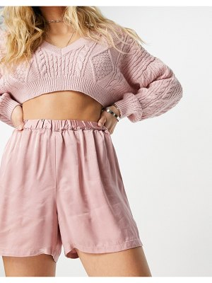Ghost harlow satin shorts in baby pink