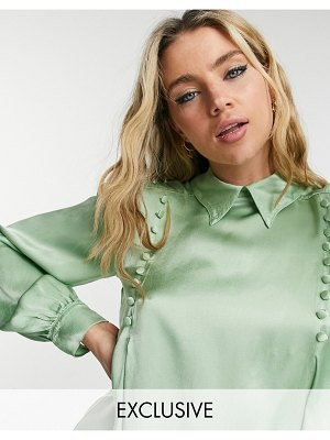 Ghost jenni satin blouse with button detail in sage green