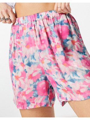 Ghost lara satin shorts in smudge floral print
