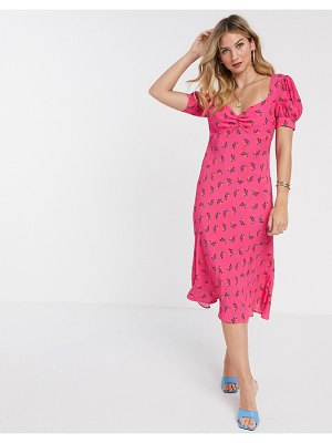 Ghost laure satin floral midi dress in pink