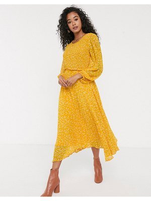 Ghost margot georgette midi dress with smocked bust-yellow