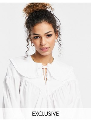 Ghost poplin blouse with collar detail in white