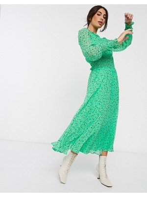 Ghost silana georgette floral maxi dress in fleurs ditsy-green