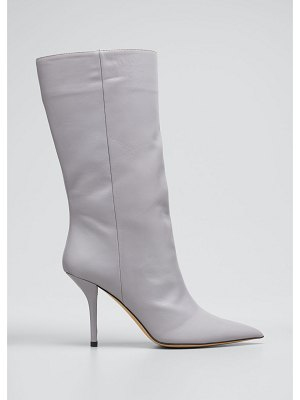 GIA x Pernille 85mm Leather Stiletto Mid-Calf Boots