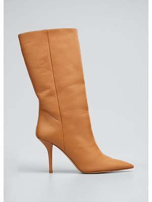 GIA x Pernille 85mm Pointed Leather Mid-Heel Boots