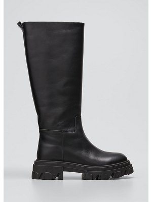 GIA x Pernille Tubular Leather Tall Combat Boots