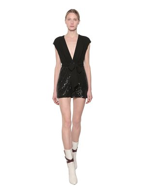 Giamba Sequin embellished chiffon mini dress