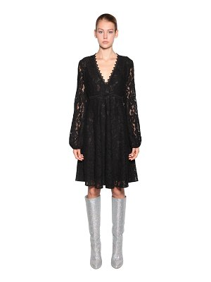 Giamba V neck lace midi dress