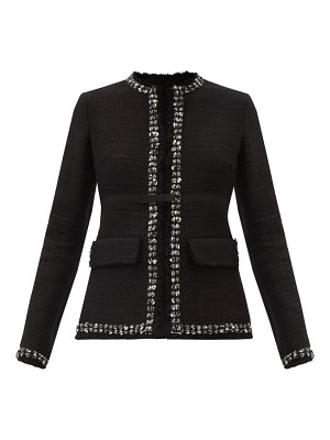 Giambattista Valli bow-trim cotton-blend tweed jacket