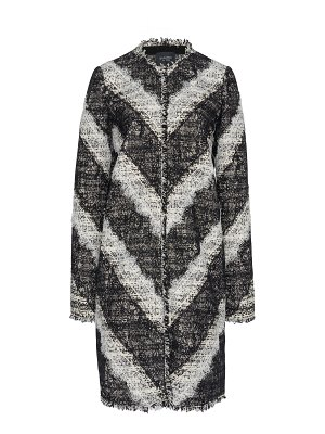 Giambattista Valli cotton tweed coat with lace accents size: 46