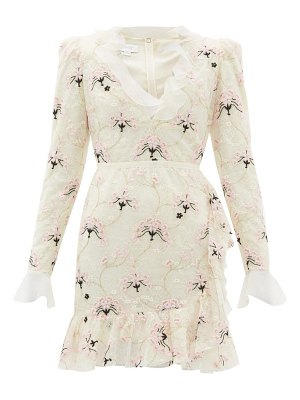 Giambattista Valli floral embroidered chantilly lace mini dress