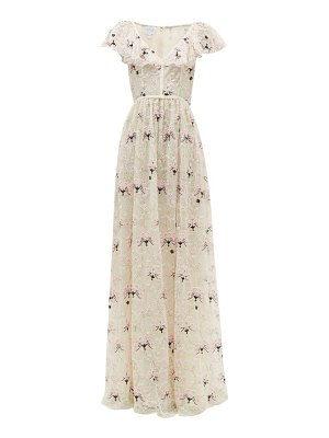 Giambattista Valli floral-embroidered chantilly-lace tulle gown
