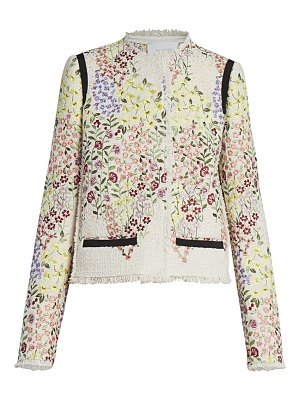 Giambattista Valli floral-embroidered cotton jacket