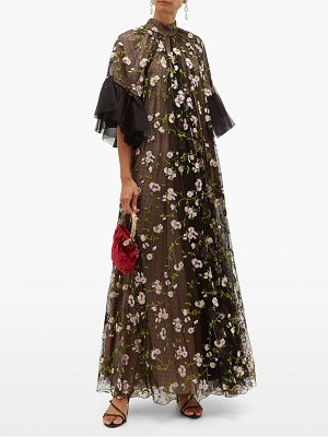Giambattista Valli floral embroidered flared ruffle sleeve tulle gown