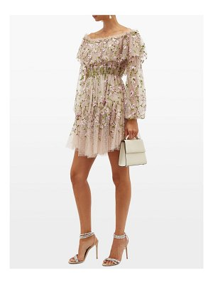 Giambattista Valli floral embroidered tulle off the shoulder dress