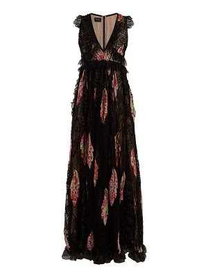 Giambattista Valli floral-print lace-trimmed silk gown