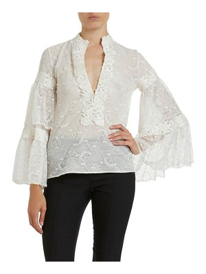 Giambattista Valli Lace Banded-Collar Bell-Sleeve Blouse