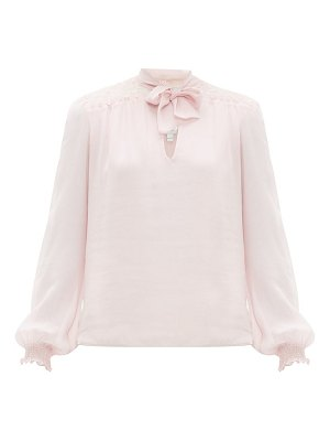 Giambattista Valli lace panel pussybow silk blouse