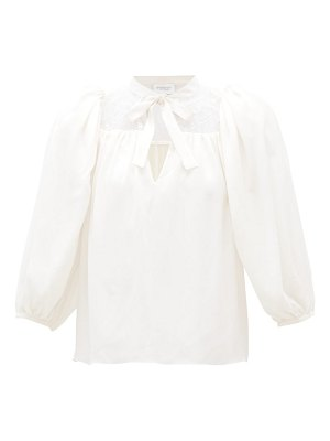 Giambattista Valli lace-panel silk-crepe blouse